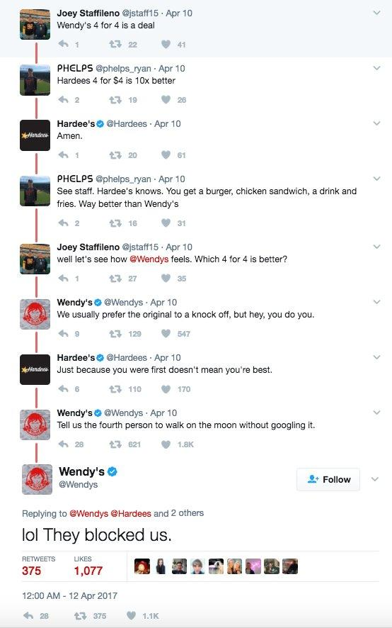 Wendy's Hardee's twitter fight