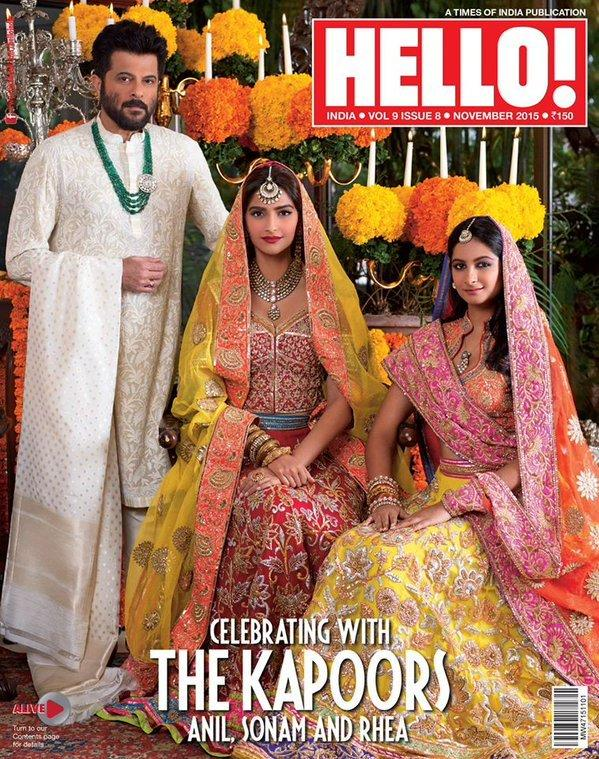 <p>The Kapoors do it all in style and the November 2015 edition of Hello magazine says it all! Sonam, Rhea and Anil were a treat to the eye on the cover. Sonam sizzled in an organza Simha multi-panelled dress with hand embroided abla work and Swarovski crystals, while Rhea chose a net bud ghagra embellished in rehsam and sequins, a chamki border blouse with net border duppta designed by Abu Jani Sandeep Khosla. And finishing the picture perfectly was Anil, donning a stylish Nehru Jacket.</p>