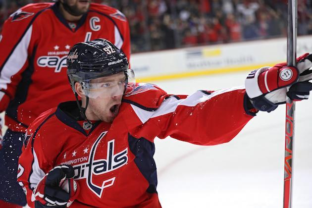 """WASHINGTON, DC – MARCH 14: <a class=""""link rapid-noclick-resp"""" href=""""/nhl/players/4986/"""" data-ylk=""""slk:Evgeny Kuznetsov"""">Evgeny Kuznetsov</a> #92 of the <a class=""""link rapid-noclick-resp"""" href=""""/nhl/teams/was/"""" data-ylk=""""slk:Washington Capitals"""">Washington Capitals</a> celebrates after scoring a goal against the Minnesota Wild during the second period at Verizon Center on March 14, 2017 in Washington, DC. (Photo by Patrick Smith/Getty Images)"""