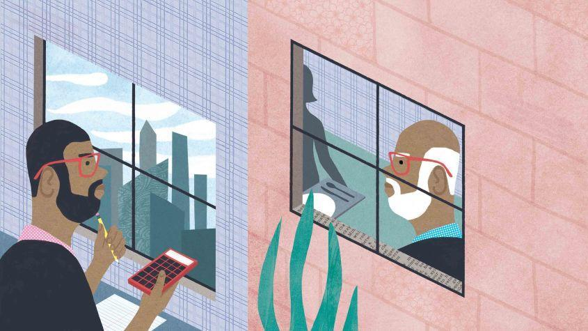 illustration of a man looking through a window at his future self as an older man