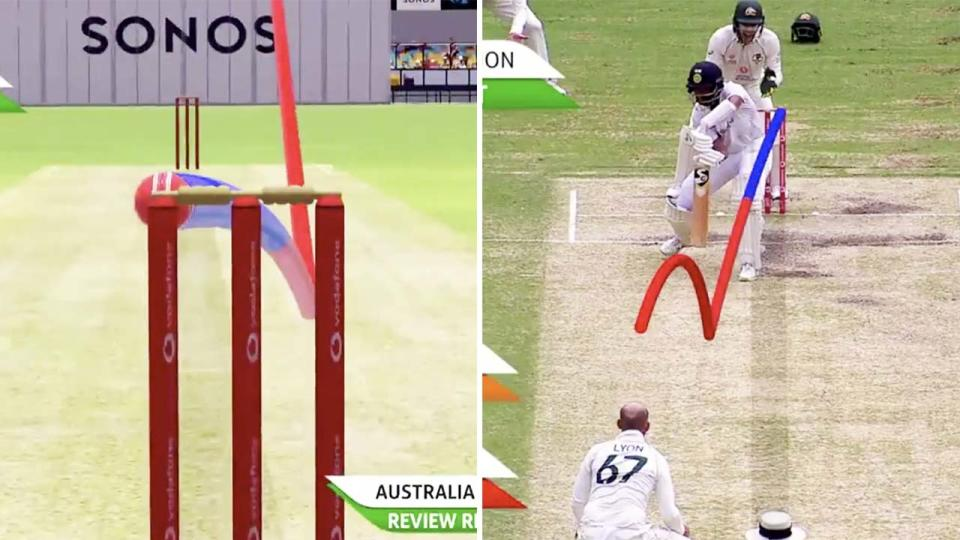 Cheteshwar Pujara, pictured here surviving a close lbw shout.