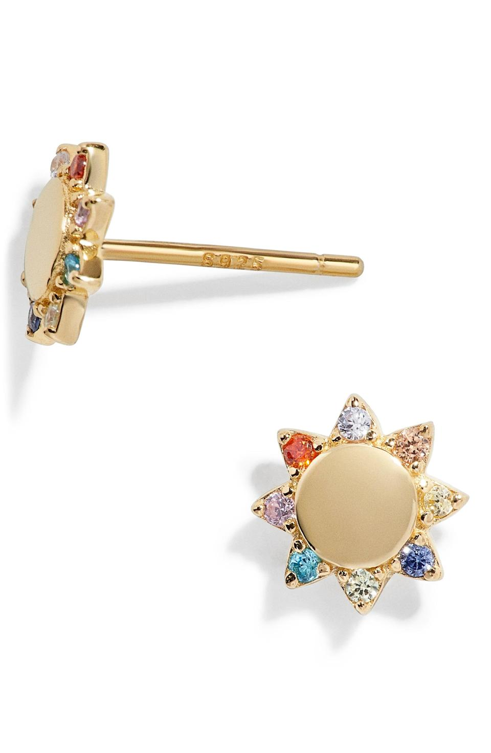 """<p><strong>BaubleBar</strong></p><p>nordstrom.com</p><p><strong>$30.40</strong></p><p><a href=""""https://go.redirectingat.com?id=74968X1596630&url=https%3A%2F%2Fwww.nordstrom.com%2Fs%2Fbaublebar-fiore-18k-gold-vermeil-flower-stud-earrings%2F5775740&sref=https%3A%2F%2Fwww.oprahmag.com%2Fstyle%2Fg32948480%2Fbest-earrings-for-sensitive-ears%2F"""" rel=""""nofollow noopener"""" target=""""_blank"""" data-ylk=""""slk:SHOP NOW"""" class=""""link rapid-noclick-resp"""">SHOP NOW</a></p><p>Gold vermeil is a base of sterling silver that is thickly coated in gold for a durable finish. These colorful floral studs will tide you over until spring blooms.</p>"""