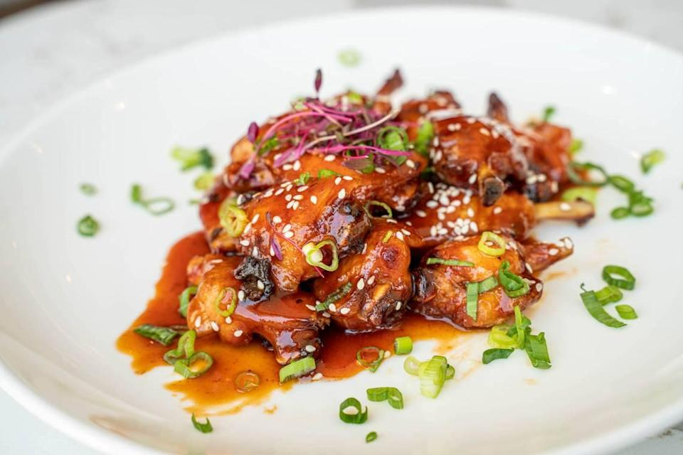 IRO's French-cut deep-fried wings are served with Japanese housemade barbecue sauce.