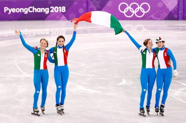 Short Track Speed Skating Events - Pyeongchang 2018 Winter Olympics - Women's 3000 m Final - Gangneung Ice Arena - Gangneung, South Korea - February 20, 2018. Arianna Fontana, Lucia Peretti, Cecilia Maffei and Martina Valcepina of Italy celebrate. REUTERS/John Sibley TPX IMAGES OF THE DAY
