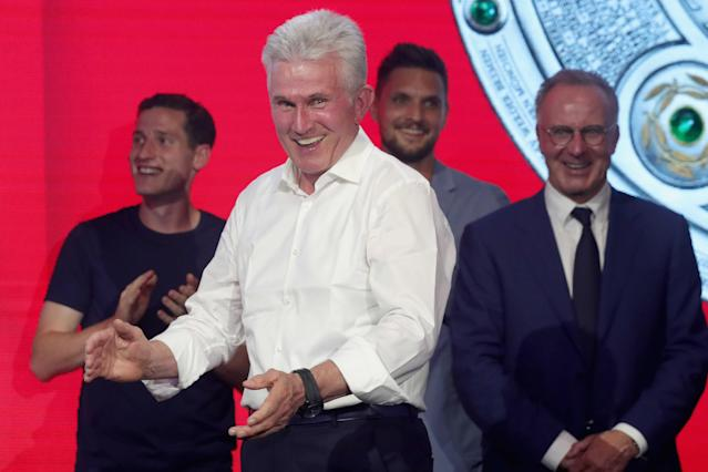 Bayern Munich's coach Jupp Heynckes celebrates winning the Bundesliga trophy at the Nockherberg beer garden in Munich, Germany, May 12, 2018. Picture taken May 12, 2018. Alexander Hassenstein/Pool via Reuters