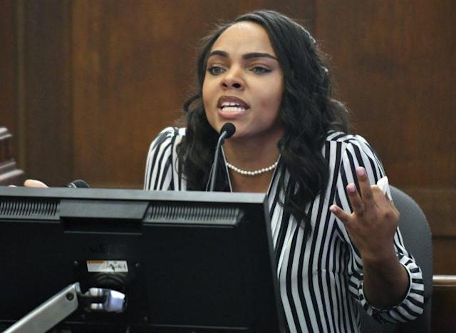 Shayanna Jenkins-Hernandez took the stand on Thursday in the double-murder trial of her fiancé, Aaron Hernandez. (AP)