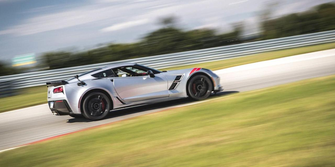 """<p>On the surface, you might not think the Corvette would make for a good GT car. It has just two seats, and sports-car focus. But really, thanks to comfortable magnetic ride suspension, a hatchback trunk, and torquey V-8, it's great on long trips. <a href=""""https://www.ebay.com/itm/2019-Chevrolet-Corvette-Grand-Sport-Coupe-2-Door/174028545022?hash=item2884e8dbfe:g:b1gAAOSwIuJdek3o"""" target=""""_blank"""">This new Grand Sport model</a> is up for sale now. We have yet to see if the <a href=""""https://www.roadandtrack.com/new-cars/a29781/mid-engine-corvette-2018-rumors/"""" target=""""_blank"""">new mid-engine version</a> will provide the same level of duality. </p>"""