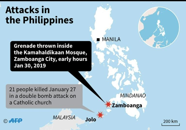 Map locating an attack at a mosque in Zamboanga, southern Philippines on Wednesday, and an attack on the island of Jolo on Sunday