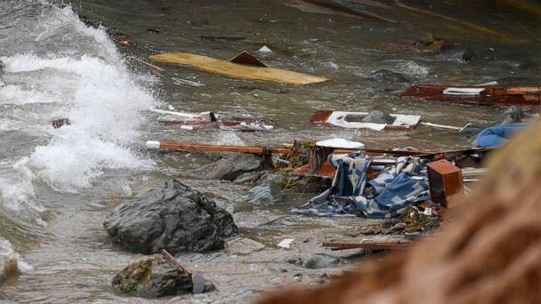 PHOTO: Wreckage and debris from a capsized boat washes ashore at Cabrillo National Monument near where a boat capsized just off the San Diego coast, May 2, 2021, in San Diego. (Denis Poroy/AP)
