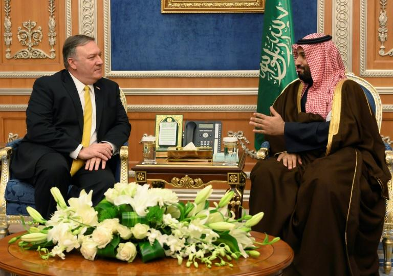 US Secretary of State Mike Pompeo (left), pictured with Mohammed bin Salman in January 2019, is due to meet the Saudi crown prince in Jeddah (AFP Photo/ANDREW CABALLERO-REYNOLDS)