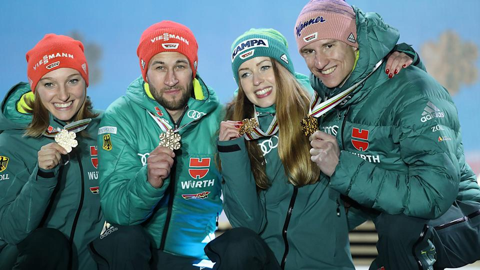 Juliane Seyfarth, pictured here celebrating with her gold medal at the 2019 FIS Nordic World Ski Championships.