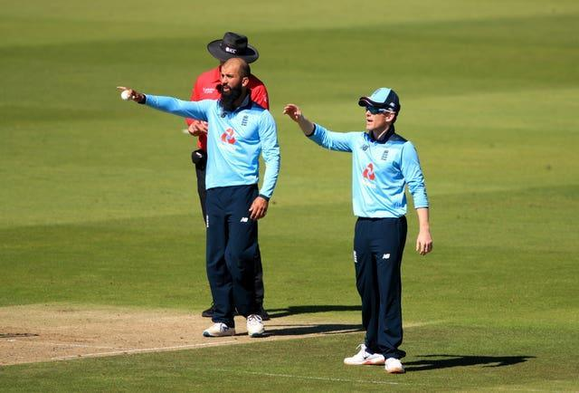 Eoin Morgan (right) says Moeen Ali's all-round ability makes him a vital part of England's plans