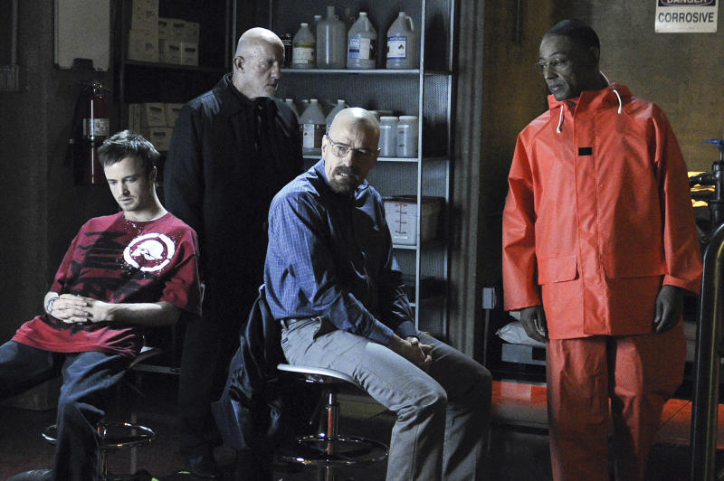 "In this publicity image released by AMC, from left, Aaron Paul, Jonathan Banks, Bryan Cranston and Giancarlo Esposito are shown in a scene from the premiere episode of Season 4 of  ""Breaking Bad,"" premiering Sunday at 10 p.m. EDT on AMC.  (AP Photo/AMC, Ursula Coyote)"