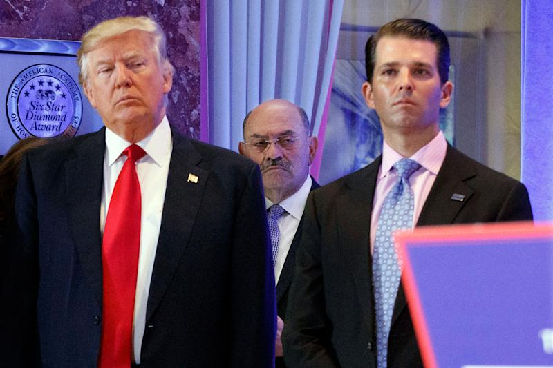 Donald Trump and Donald Trump Jr. at Trump Tower in New York on Jan. 11, 2017.