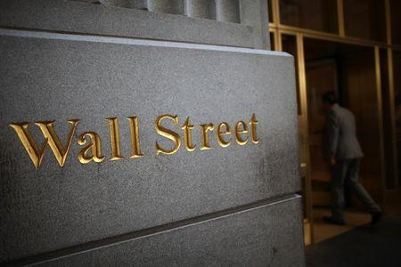 Sign is seen on Wall Street near the New York Stock Exchange
