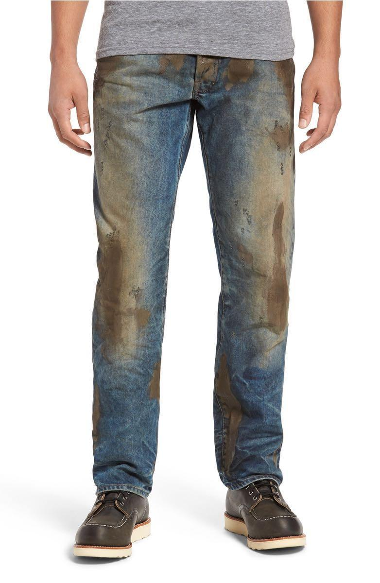 <p>Any man (or woman) wanting to look like they've been doing some good old manual labour can simply wear these heavily stained jeans in place of doing any actual work. Neat, huh?<br><i>[Photo: Nordstrom]</i> </p>