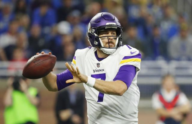 Vikings quarterback Case Keenum compiled three total touchdowns and zero turnovers in Minnesota's 30-23 win over Detroit. (AP)