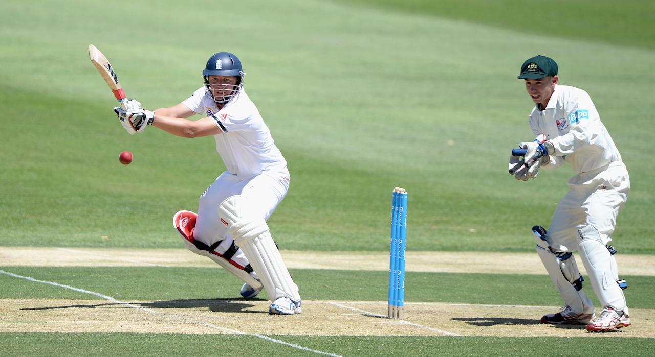 ALICE SPRINGS, AUSTRALIA - NOVEMBER 29:  Gary Ballance of England bats during day one of the tour match between the Chairman's XI and England at Traeger Park on November 29, 2013 in Alice Springs, Australia.  (Photo by Gareth Copley/Getty Images)