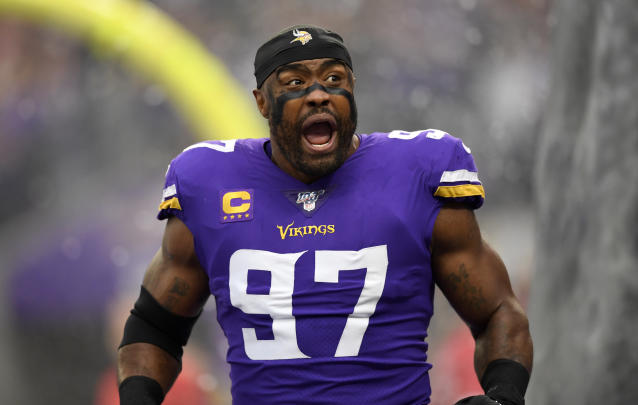 Everson Griffen reacts during the Vikings and Falcons game at U.S. Bank Stadium on September 8, 2019 in Minneapolis, Minnesota. (Photo by Hannah Foslien/Getty Images)