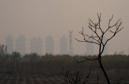 Apartment blocks are seen on the outskirts of Langfang Hebei province