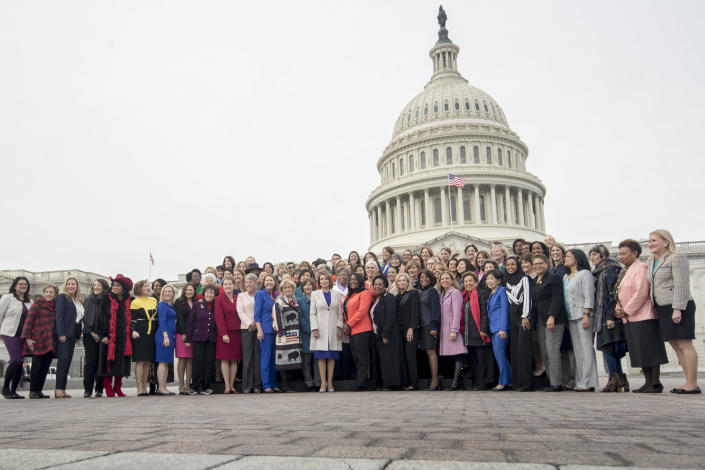 House Speaker Nancy Pelosi, D-Calif., center, with all the House Democratic female members of the 116th Congress