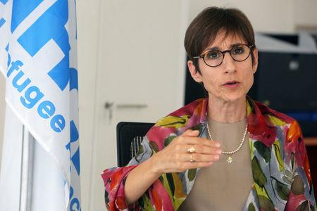 FILE PHOTO: FILE PHOTO: Mireille Girard, UNHCR representative in Lebanon gestures as she talks during an interview with Reuters in Beirut, Lebanon June 12, 2018. REUTERS/Aziz Taher