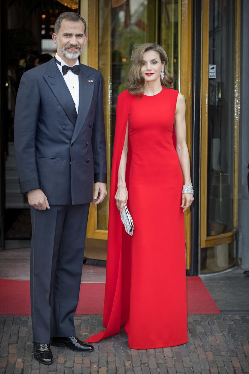 Queen Letizia of Spain in the red cape dress