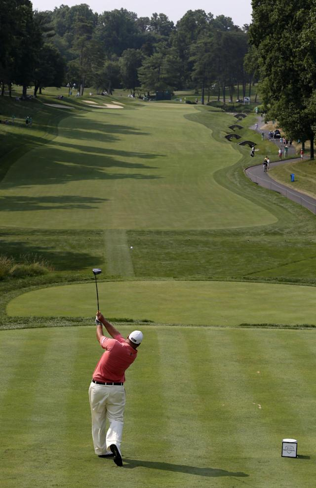 Brendon de Jonge tees off from the 11th tee during the second round of the AT&T National golf tournament at Congressional Country Club in Bethesda, Md., Friday, June 29, 2012. (AP Photo/Patrick Semansky)