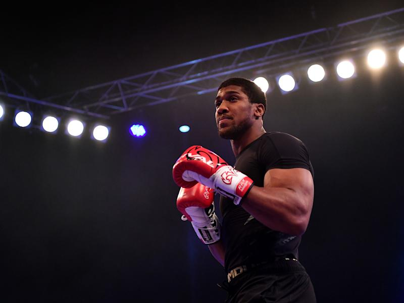 Anthony Joshua during Wednesday's public workout: Getty