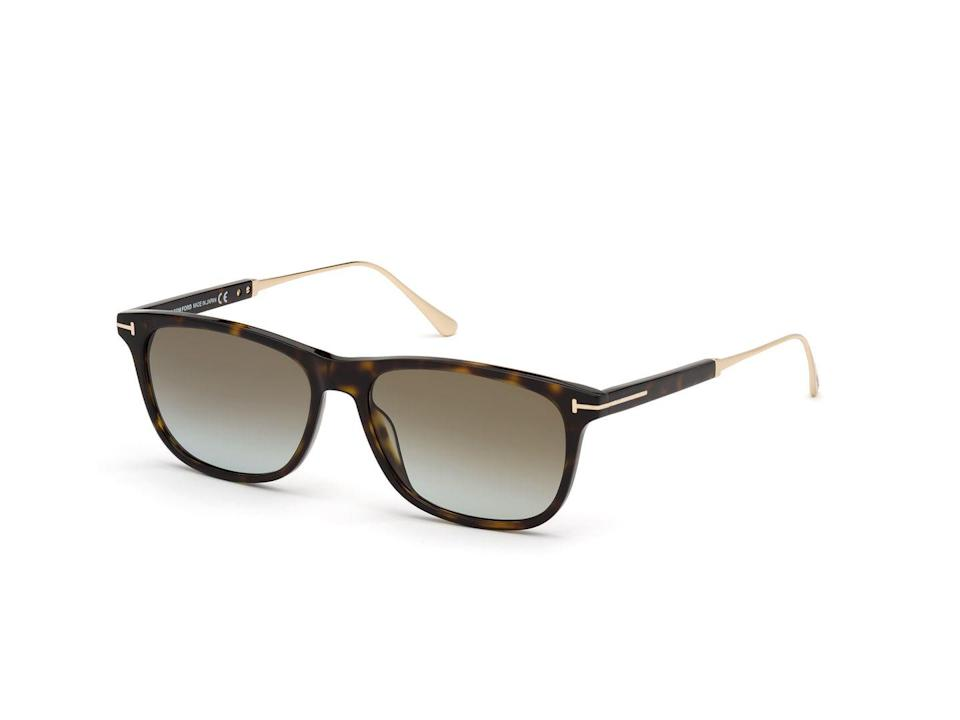 """<p>Tom Ford sunglasses are nothing short of pure excellence. The new eyewear collection focuses on throwback shapes inspired by the 1950s and 1970s. An elegant square shape with the 'T' metal logo on the front and slim metal temples give that extra dose of elevation, while its fine mix of acetate and titanium make them the perfect sunglasses to wear with tailoring (or on a beach in Italy). </p><p>£250, <a href=""""https://www.tomford.co.uk/eyewear/men/sunglasses/"""" rel=""""nofollow noopener"""" target=""""_blank"""" data-ylk=""""slk:Tom Ford"""" class=""""link rapid-noclick-resp"""">Tom Ford</a>.</p>"""