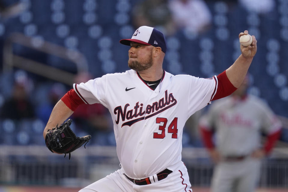 Washington Nationals starting pitcher Jon Lester throws during the first inning of the team's baseball game against the Philadelphia Phillies at Nationals Park, Wednesday, May 12, 2021, in Washington. (AP Photo/Alex Brandon)