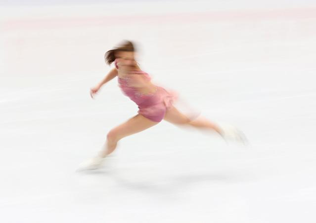 Figure Skating - World Figure Skating Championships - The Mediolanum Forum, Milan, Italy - March 21, 2018 Laurine Lecavelier of France during the Ladies Short Programme REUTERS/Alessandro Bianchi