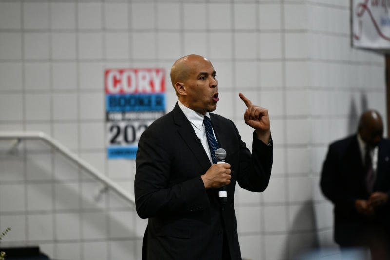 U.S. Sen. Cory Booker speaks to a crowd of several hundred during a campaign stop Friday, March 1, 2019, in Simpsonville, S.C. Booker is spending two days in the state, which holds the first 2020 Democratic primary in the South, holding town hall-style discussions as he continues to introduce himself to the largely African-American primary electorate. (AP Photo/Meg Kinnard)