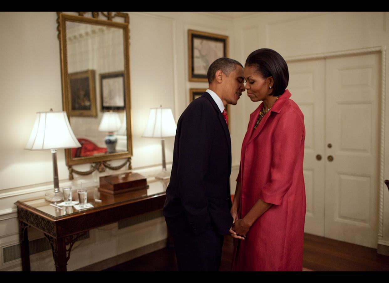 President Barack Obama and First Lady Michelle Obama wait in the Map Room of the White House, before welcoming President Felipe Calderón of Mexico and his wife, Mrs. Margarita Zavala, on the South Lawn of the White House, May 19, 2010.