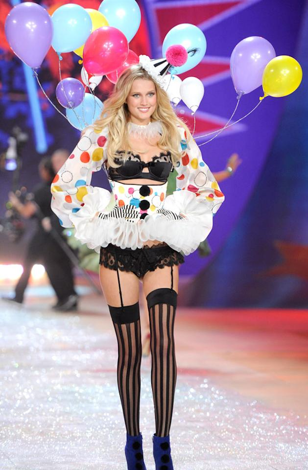 Toni Garrn walks the runway during the 2012 Victoria's Secret Fashion Show at the Lexington Avenue Armory on November 7, 2012 in New York City.