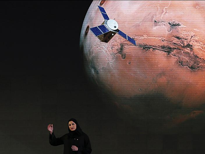 """Sarah Amiri, Deputy Project Manager, talks about the project named """"Hope"""" — or """"al-Amal"""" in Arabic — during a ceremony in Dubai, UAE, May 6, 2015."""