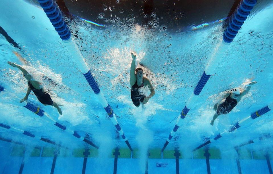 """<p>If a swimmer sets a <a href=""""https://www.cbc.ca/cbckids/olympics/rio2016/blog/olympics-weirdest-rules"""" rel=""""nofollow noopener"""" target=""""_blank"""" data-ylk=""""slk:world record"""" class=""""link rapid-noclick-resp"""">world record</a>, it's not automatically recorded. Athletes have to fax in their record. Yes, fax. </p>"""