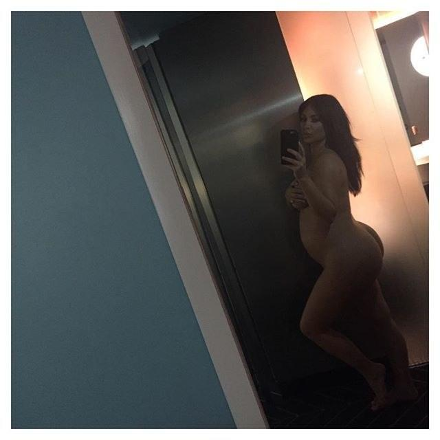 <p>The Queen of selfies couldn't resist taking this risqué Instagram picture while expecting son Saint in 2015. [INSTAGRAM] </p>