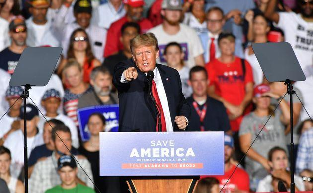 CULLMAN, USA - AUGUST 21: Donald J. Trump delivers remarks at a major rally hosted by the Alabama Republican Party and in conjunction with the Alabama Republican Party's Summer Meeting to support the MAGA agenda in Cullman, Alabama in Cullman, AL, United States on August 21, 2021. (Photo by Peter Zay/Anadolu Agency via Getty Images) (Photo: Anadolu Agency via Getty Images)