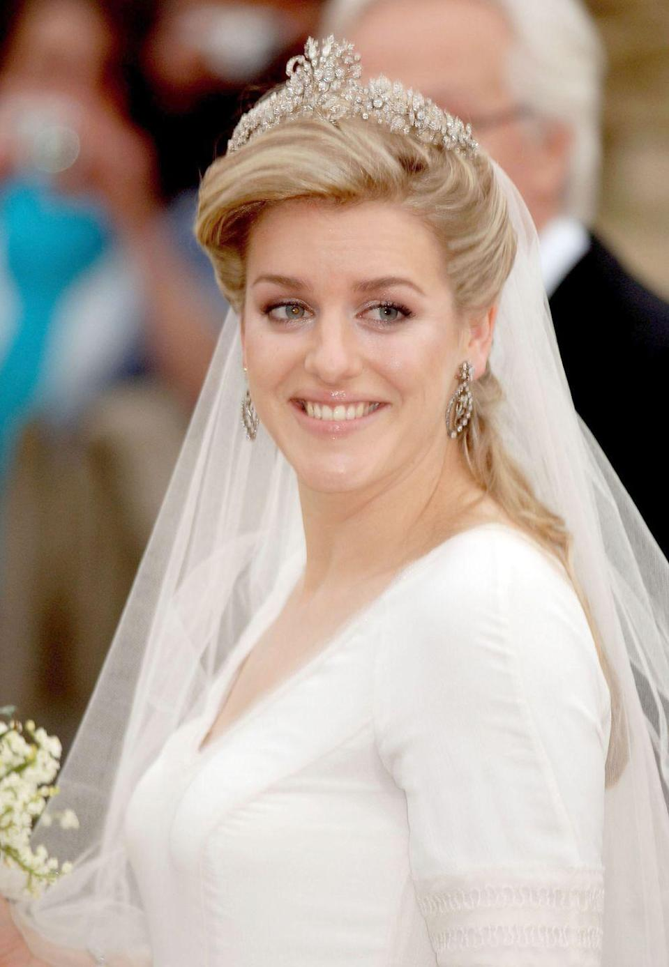 <p>This tiara was worn by Laura Lopes, the daughter of Camilla, Duchess of Cornwall, for her wedding in 2006. Camilla also wore it for her first wedding to Andrew Parker-Bowles, and has been pictured in it as recently as 2015. </p>