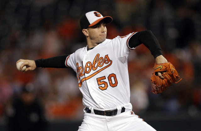 Baltimore Orioles starting pitcher Miguel Gonzalez throws to the Toronto Blue Jays in the first inning of a baseball game, Thursday, Sept. 26, 2013, in Baltimore. (AP Photo/Patrick Semansky)