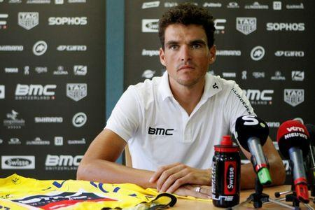 Cycling - Tour de France - Rest day - Aix-les-Bains, France, July 16, 2018. BMC Racing Team rider Greg Van Avermaet of Belgium looks at his yellow jersey during the press conference. REUTERS/Emmanuel Foudrot