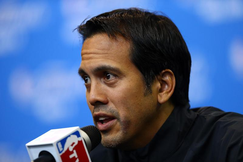 Miami Heat coach Erik Spoelstra speaks at a press conference at the Spurs Practice Facility in San Antonio on June 14, 2014