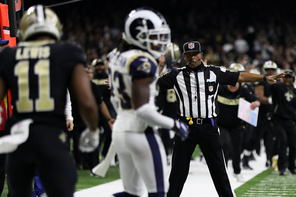 The NFL told the Toronto Sun that officials were moved from a downtown New Orleans hotel to a suburban location after Sunday's NFC championship. (Getty)