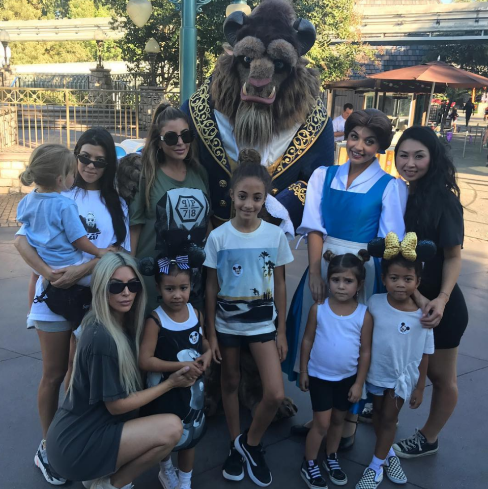 """<p>Kim and Kourtney Kardashian grabbed the kids and headed out for fun day at Disneyland along with friends Pippen, Tracy Nguyen Romulus, and their children. North West and cousins Penelope, Reign, and Mason Disick posed with Belle and her man, The Beast. (Photo: <a href=""""https://www.instagram.com/larsapippen/"""" rel=""""nofollow noopener"""" target=""""_blank"""" data-ylk=""""slk:Larsa Pippen via Instagram"""" class=""""link rapid-noclick-resp"""">Larsa Pippen via Instagram</a>) </p>"""