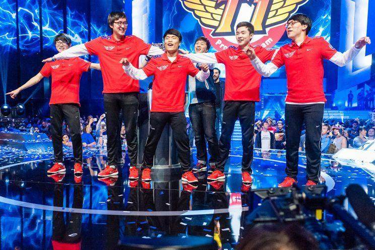 The SK Telecom T1 #2 lineup at the Season 3 League of Legends World Championship (Riot Games/lolesports)
