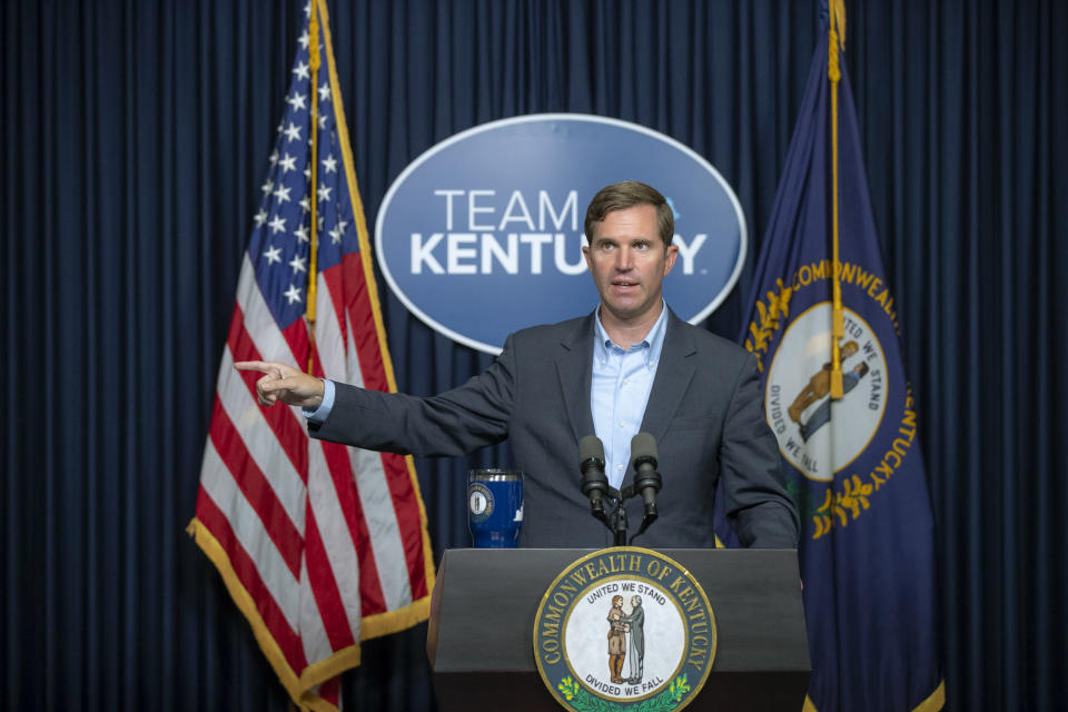 Kentucky Gov. Andy Beshear speaks during a media briefing about the COVID-19 pandemic at the state Capitol in Frankfort, Ky., on Monday, Aug. 23, 2021. (Ryan C. Hermens/Lexington Herald-Leader via AP)