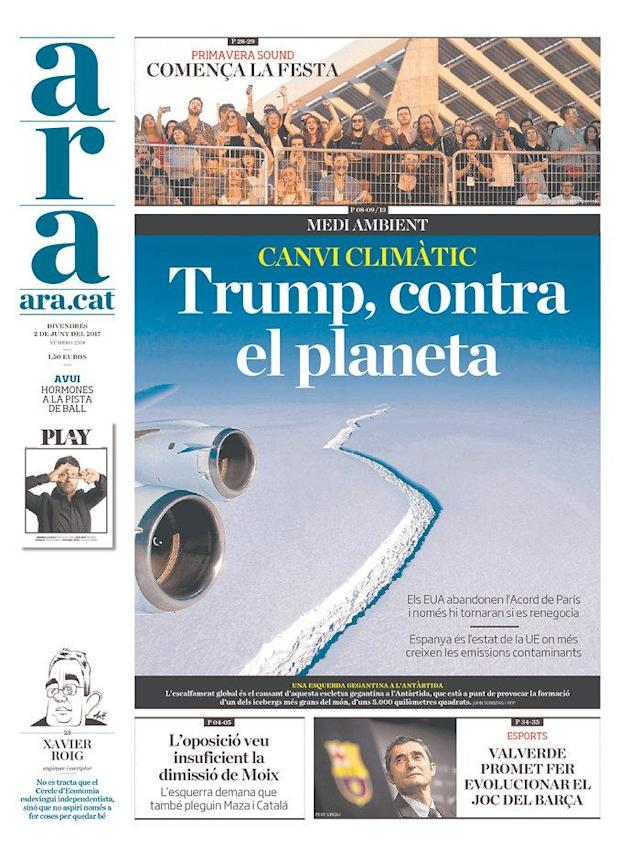 "<p>""ARA,"" published in Barcelona, Spain. (Newseum) </p>"
