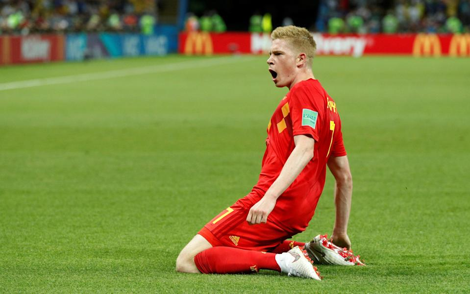Kevin De Bruyne celebrates Belgium's second goal against Brazil in the 2018 World Cup quarterfinals. (Reuters)