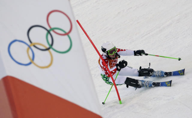 Lebanon's Jacky Chamoun finishes the first run of the women's slalom at the Sochi 2014 Winter Olympics, Friday, Feb. 21, 2014, in Krasnaya Polyana, Russia. (AP Photo/Gero Breloer)